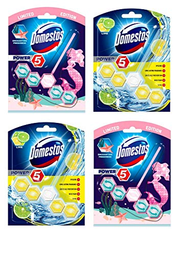 Domestos Power 5 Lime and Limited Edition Enchanting Freshness Toilet Rim Block 4 Set (2 of Each Scent) Long Lasting Fragrance Bathroom Cleaning Product from Kingdom Supplies