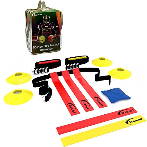 Trained Flag Football Set,10 Man Set,Premium Football Gear, Massive 46 Piece Set, Flags, Belts, Cones, More, Bonus: Stylish Carry Bag & Flag Football Playbook (Ebook)
