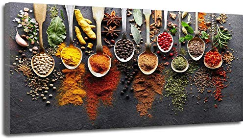Canvas Painting Home Kitchen Room Wall Art Picture Spices Food Dinning Room Canvas Painting Artwork (24x48inch,Unframed)