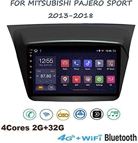 "QWEAS Android 8.1 GPS-Navigation Auto-Stereoanlage, 9 ""Touch-Screen-Stereo-TV, für Mitsubishi Pajero Sport 2013-2018, SWC Bluetooth freihändige Anrufe Spiegel"
