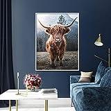 Nórdico Animal Print Lienzo Cartel marrón Highland Ganado Pared Arte Sala decoración Pintura,Pintura sin marco-60X80cm