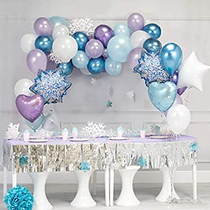 Amazon Com 65pcs Diy Garland Balloon With Purple White Blue Chrome Metallic Latex Balloons Perfect For Frozen Birthday Party Baby Shower Winter Wonderland Party Decorations Christmas Party Purple White Blue Health Personal