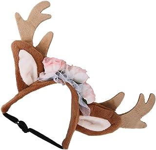 قطعة واحدة من عصابة رأس حيوان الرنة مع أذني من الزهور للقطط والكلاب والجراء والحفلات التنكرية من Generic