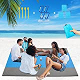 Beach Blanket, 82 X 79 inche Large Beach Mat Sandproof and Waterproof Lightweight Beach Blanket for Camping and Hiking