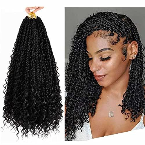 8 Packs Box Braid Crochet Hair Curly Ends 12 inch Crochet Box Braids Synthetic Crochet Braids for Black Women (8Pcs, 1B)