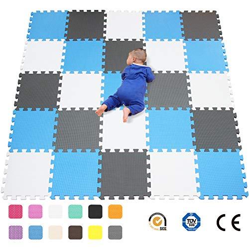 qqpp Alfombra Puzzle para Niños Bebe Infantil - Suelo de Goma EVA Suave. 25 Piezas (30*30*1cm), Blanco, Azul, Gris.QQC-AGLb25N