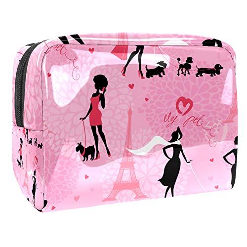 Bolsa de cosméticos para Mujeres Torre de la Silueta de la niña Paris Bolsas de Maquillaje espaciosas Neceser de Viaje Organizador de Accesorios