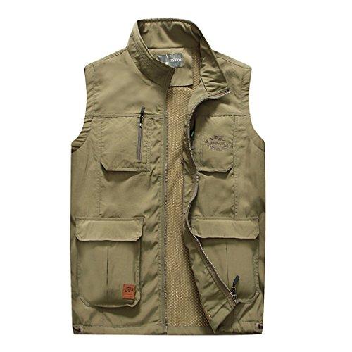 Chalecos Chaleco multi bolsillo Chaleco multi bolsillo para exteriores chaleco de pesca de malla casual de primavera y otoño chaleco de herramientas de los hombres Chaqueta de fotografía