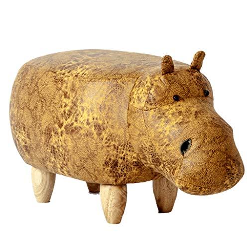 Banc en Bois De Dessin Animé Repose-Pieds Rembourré en Bois Massif Banc De Chaussure pour Hippopotame Mignon Banc De Canapé Tabouret De Rangement De Meubles (Color : Gold/a)