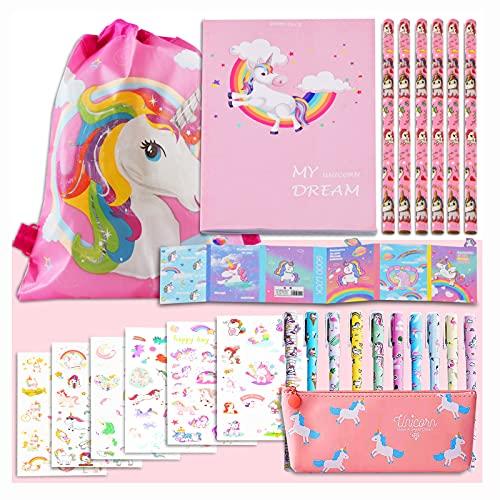 Unicorno Regalo di Cancelleri per Bambina 6 7 8 9 10 11 12 Anni, TOYESS Unicorno Set di Giocattoli per Ragazze, include Astuccio y Penne Colorate y Matite y Quaderni y Adesivi Ecce(32pz)