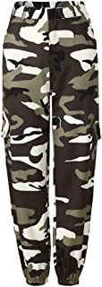 Aiweijia Women's Camo Pant Sports Pants Loose Military Army Polyester Mid Waist Jogging Dance Fashion Leisure Outdoor Ladies Tracksuit Bottoms Harem Pants