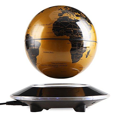 EASY EAGLE 6 Pouces Globe Teresstre Magnétique Lévitation Rotatif Lumineux Cadeau de Fête Décoration Maison Bureau Chambre, Golden