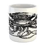 N\A Taza de Pulpo, Estilo Vintage, Estilo Buzo, Pulpo, tentáculos de Animales Marinos, Concepto de Buceo, Taza de café de cerámica para Bebidas de té de Agua, 11 oz, carbón y Blanco