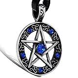 OIDEA Collar para Hombre Mujer Colgante de Pentagrama Estrella Cadena Ajustable Collar G├│tico de Cuero Aleaci├│n Diamantes Artificiales, Azul Plata Negro Marr├│n