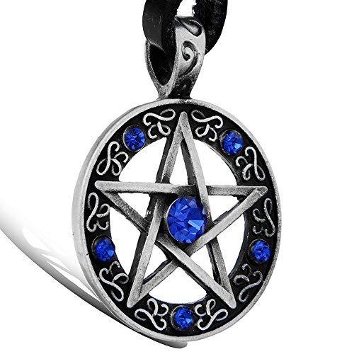 OIDEA Collar para Hombre Mujer Colgante de Pentagrama Estrella Cadena Ajustable Collar Gótico de Cuero Aleación Diamantes Artificiales, Azul Plata Negro Marrón
