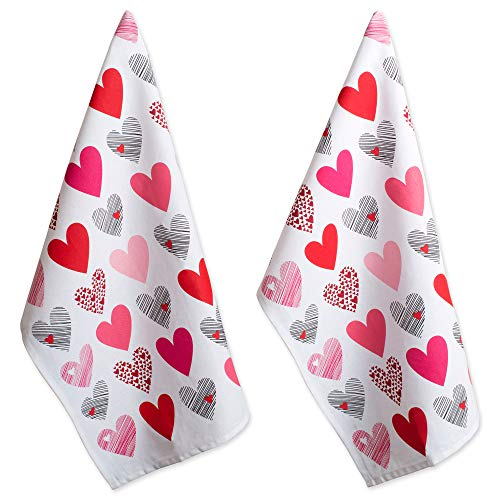DII 100% Hearts Collage Dish Towels, Ultra-Absorbant, Machine Washable Perfect for Valentine's day Gift, Dishtowel Set