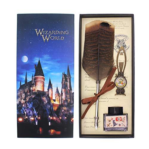 Set de pluma de búho para fans de Harry Potter. Pluma para caligrafía con tinta. Regalo para niños, amigos, Navidad, cumpleaños, etc., color Juego de bolígrafo de búho con marcador de búho