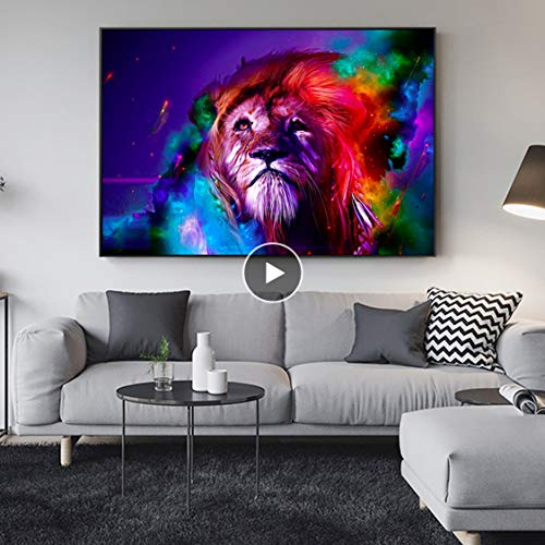 Danjiao Acuarela Abstracta León Lienzo Pinturas En La Pared Arte Aniamals Decotativo Pared Pop Art Lienzo Impresiones Para Niños Habitación Sala De Estar Decor 40x60cm