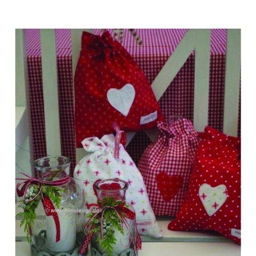 Vichy cadeaux cœur à carreaux rouge/blanc - 25,5 x 22 cm