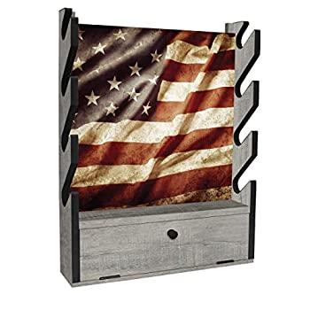 Rush Creek Creations American Flag Indoor 4 Rifle/Shotgun Wall Storage Display Rack