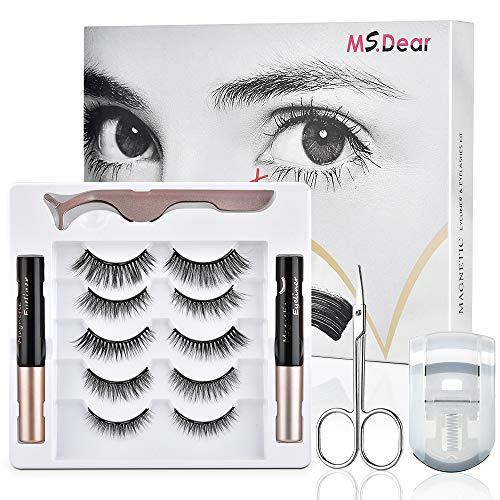 Magnetische Wimpern, MS.DEAR Künstliche Wimpern 3D Natürlich Falsche Wimpern Kit, 5 Paar Falsche Eyelashes Wiederverwendbar, 2 Eyeliner Magnetische Set, Wasserdichtem Langlebigem