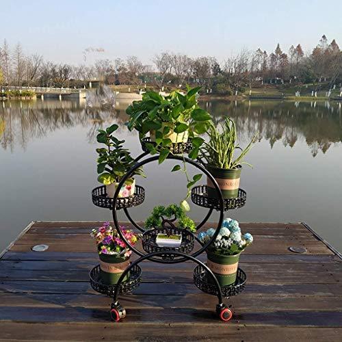 LY77 Blumenregal Pflanze Stehen Schmiedeeisen mehrschichtige Indoor Europäischen Mobilen Raum Grün Rettich Balkon Bodenspeicher Wohnzimmer Mit Runden Blumentopf