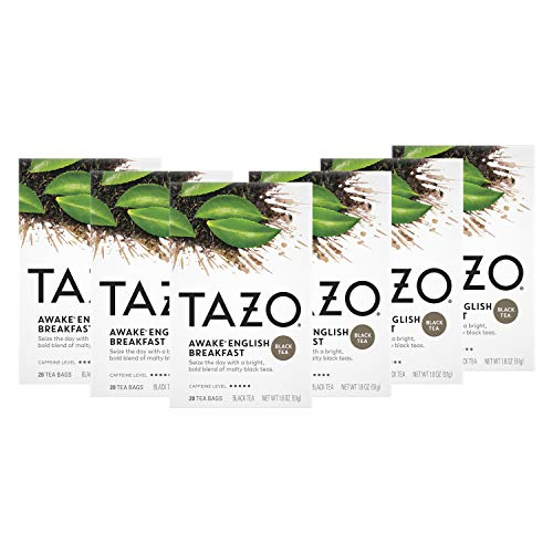 Tazo Awake English Breakfast Tea Bags For a Bold Traditional BreakfastStyle Tea Black Tea Highly Caffeinated Tea 20 Tea Bags 6Ct