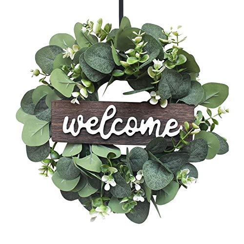 Eukalyptus Kränze Tür Willkommen Zeichen, Künstliche Kranz Willkommen Tür Zeichen für Haustür Hängen Schlafzimmer Hochzeit Party Kamin Innenwand Fenster Home Decoration