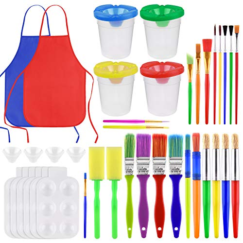 KUUQA 37Pcs Painting Tool Kits, No Spill Paint Cups Set with Lids and Paint Brushes, Painting Aprons, Palette Tray Multi Sizes Paint Pen Brushes for Kids Birthday Gifts, Prizes