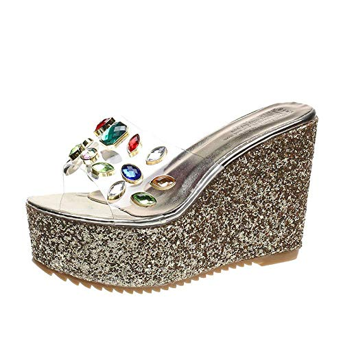 Las zapatillas de algodn unisex para otoo e invi Zapatillas de casa interior de playa antideslizante, tacn de cua, chanclas transparentes, coloridas sandalias de diamantes de imitacin y zapatilla