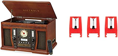 Victrola Aviator 8-in-1 Bluetooth Record Player & Multimedia Center with Built-in Stereo Speakers - 3-Speed Turntable & ITNP-LC1 3 Pack Turntable Replacement Needles for Various Record Players White