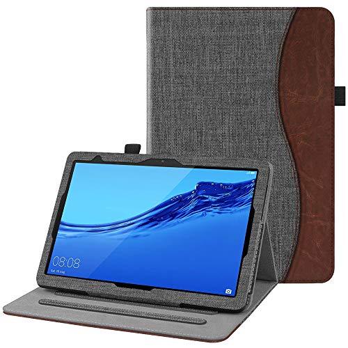 Fintie Hülle für Huawei MediaPad T5 10 - Multi-Winkel Flip Betrachtung Stoff Schutzhülle mit Dokumentschlitze für Huawei MediaPad T5 10 10.1 Zoll 2018 Tablet PC, Denim dunkelgrau