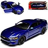 Motor Max Ford Mustang VI Coupe Blau Modell Ab 2014 Version ab Facelift 2017 1/24 Modell Auto mit individiuellem Wunschkennzeichen