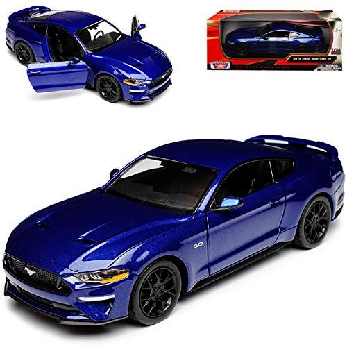 Motor Max Ford Mustang VI Coupe Blau Modell Ab 2014 Version ab Facelift 2017 1/24 Modell Auto mit individiuellem Wunschkennzeichen