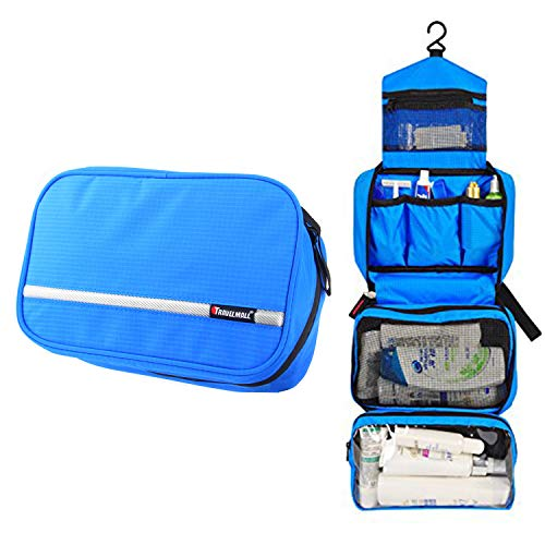 Relavel Travel Toiletry Bag Business Toiletries Bag for Men Shaving Kit Waterproof Compact Hanging Travel Cosmetic Pouch Case for Women (sky blue)