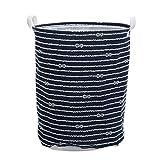 Cesta plegable para la colada, con rayas, azul, impermeable, grande, cesta para la colada, con asa, cesta grande (color: azul, tamaño: 40 x 50 cm)