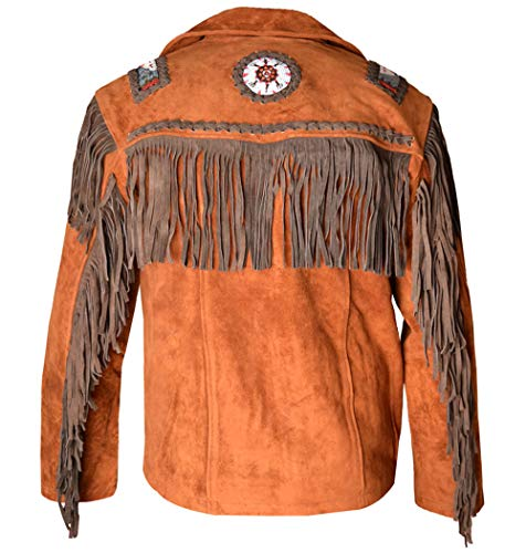 REDWOLF Western Cowboy Style - Chaqueta de Piel de Ante con Flecos para Hombre D11 XXS-5XL Marrón marrón. XXXX-Large