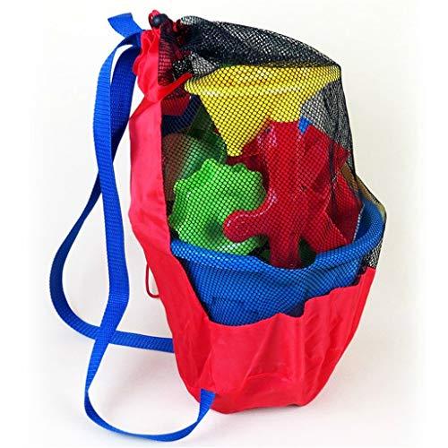 SimpleLife Large Mesh Strand Spielzeug Tasche, Durable Kordelzug Strand Rucksack für Kinder Strand Sand Spielzeug Wasser Spaß Sport Bad Kleidung Handtücher Rucksäcke Geschenk