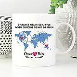 N\A Taza de relación de Larga Distancia de Dason, Regalo para LDR, Taza de café para LDR, Taza de café, Regalo de países para Ella, Regalo de LDR para él, Taza de Mapa del Mundo