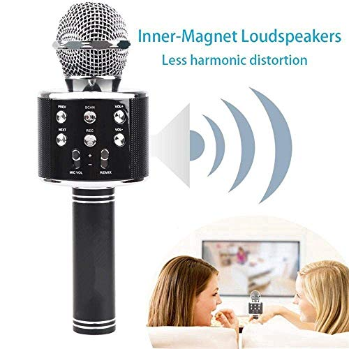 GDP Advance Handheld Wireless Mic for Karaoke, Portable Mic, Singing Microphone with Bluetooth Speaker Compatible with iOS and All Android Smartphones
