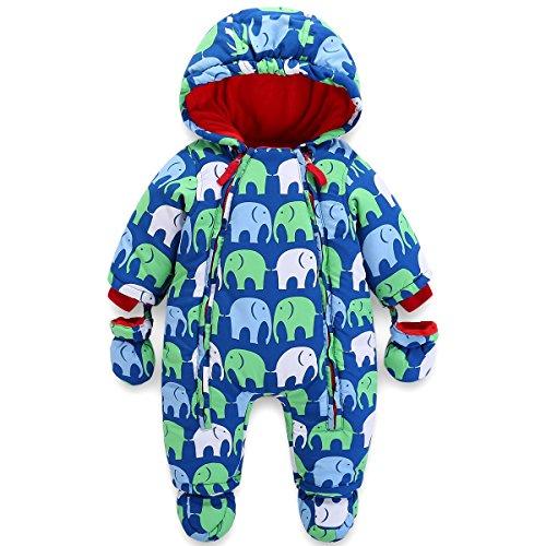 Baby Winter Overall Mit Kapuze Jungen Schneeanzüge mit Handschuhen und Füßlinge Warm Kleidungsset 6-9 Monate