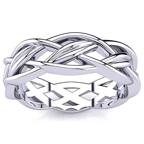 Lotus Braided Celtic Knot Gold Ring, His and Hers Wedding Bands