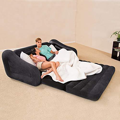 ZLZL 5 In 1 Opblaasbare Multi Functie Tweepersoons Luchtbed Sofa Stoel Lounger Bed Matrasopvouwbare Lazy Opblaasbare Slaapbank Lunch Break (5 In 1 Sofa Air Bed Couch) Zwart