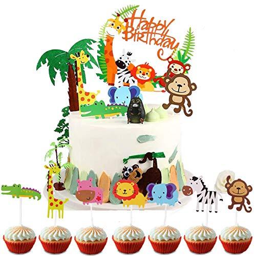 Coriver 43 Pezzi Topper Torta a Tema Zoo / Giungla Carino, 1 Pezzo Banner di Buon Compleanno e 42 Pezzi Topper Cupcake Animali per Bambini Decorazione di Compleanno Baby Shower Party