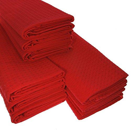 Big Pack! Lot de 9 torchons de cuisine en coton gaufré Rouge