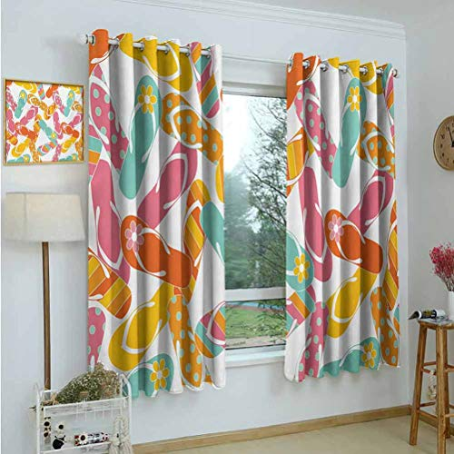 """Room Darkening Wide Curtains Summer,Colorful Bunch Flip Flops Sandals Pattern Relax Holiday Sunbath Theme Groovy Graphic,Multicolor,Light Blocking Drapes with Liner 42""""x45"""""""