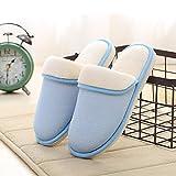 ypyrhh Zapatillas de casa Comfort Knitted,Zapatillas de felpa de interior,Zapatos de confinamiento de plataforma antideslizante-Azul 1_38-39,Zapatillas antideslizantes con forro polar