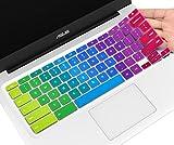 Bunte Tastaturabdeckung für ASUS Chromebook Flip C434 2-in-1 14 Zoll Laptop C434TA-DH342T DSM4T DS384T, C302CA C423 C425TA C433TA C434TA C523NA Tastaturschutz, Chromebook Zubehör, Regenbogen