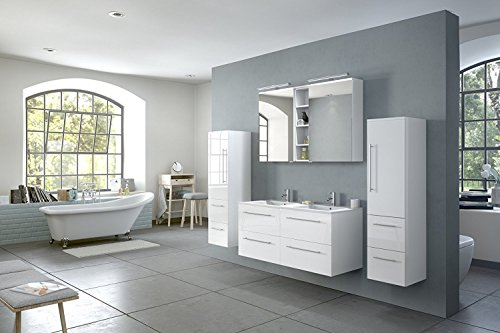 SAM® Badmöbel-Set 4-TLG, Hochglanz weiß, Softclose Badezimmermöbel, Doppelwaschplatz 120 cm Mineralgussbecken, Spiegelschrank, Zwei Hochschränke [521050]