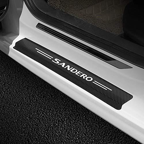 4 pièces autocollants de seuil de porte de voiture Auto Fiber de carbone Anti-rayures protecteur décalcomanie plaque de protection accessoires de réglage de voiture pour Renault Dacia Sandero Tuning
